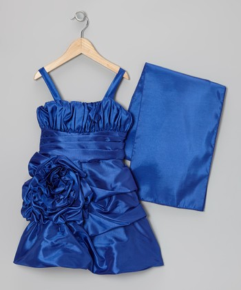 Royal Blue Rosette Satin Dress & Shawl - Toddler & Girls
