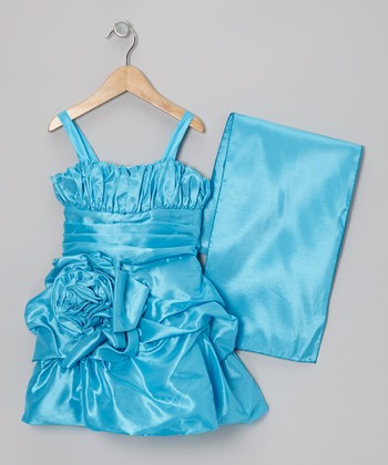 Turquoise Rosette Satin Dress & Shawl - Toddler & Girls