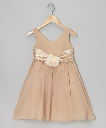 Khaki Flower Sash Babydoll Dress - Toddler & Girls