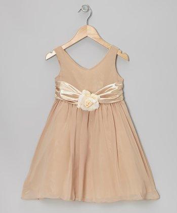 Cinderella Couture Khaki Flower Sash Babydoll Dress - Toddler & Girls