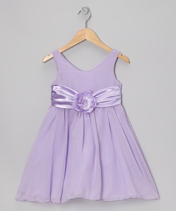 Lilac Flower Sash Babydoll Dress - Toddler & Girls