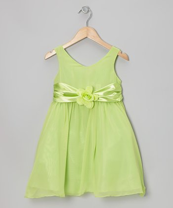 Lime Flower Sash Babydoll Dress - Toddler & Girls