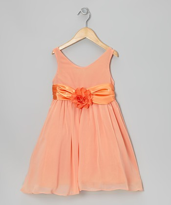 Orange Flower Sash Babydoll Dress - Toddler & Girls