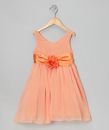 Cinderella Couture Orange Flower Sash Babydoll Dress - Toddler & Girls