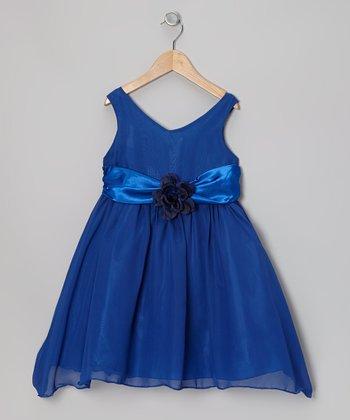 Cinderella Couture Royal Blue Flower Sash Babydoll Dress - Toddler & Girls