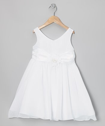 White Flower Sash Babydoll Dress - Girls