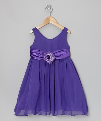 Cinderella Couture Purple Flower Sash Babydoll Dress - Toddler & Girls