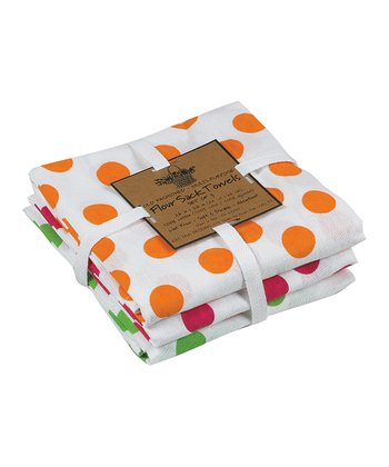 Orange & Green Dot Kitchen Towel Set