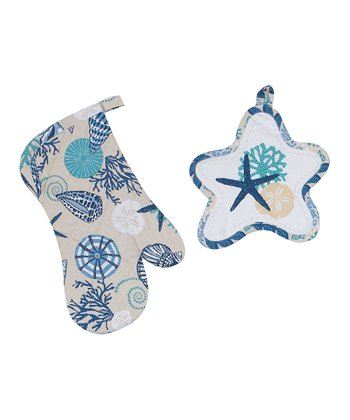 Blue Shell Pot Holder & Oven Mitt