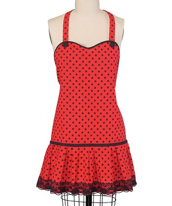 Red Polka Dot Frill Apron - Women