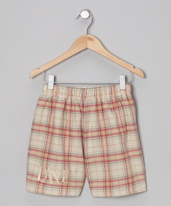 Tan Plaid Shorts - Girls