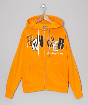 Orange 'Dancer' Zip-Up Hoodie - Women