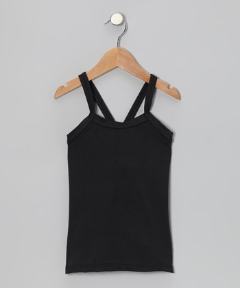 Black Cross-Back Tank - Toddler & Girls