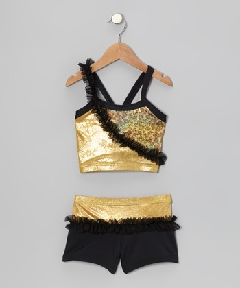Gold & Black Foil Ruffle Sports Bra & Shorts - Toddler & Girls