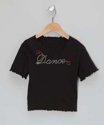 Black Rhinestone 'Dance' Crop Tee - Girls