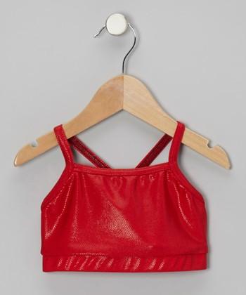 Butterfly TREASURES Red Shimmer Sports Bra - Girls