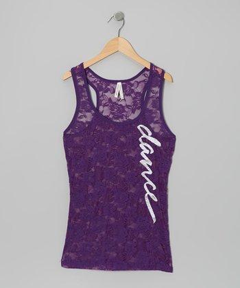 Purple 'Dance' Lace Racerback Tank - Women