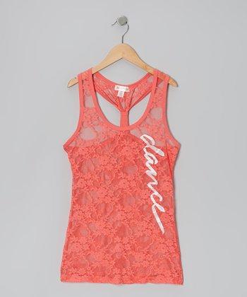 Coral 'Dance' Lace Racerback Tank - Women