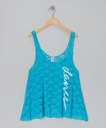 Turquoise 'Dance' Lace Swing Tank - Women