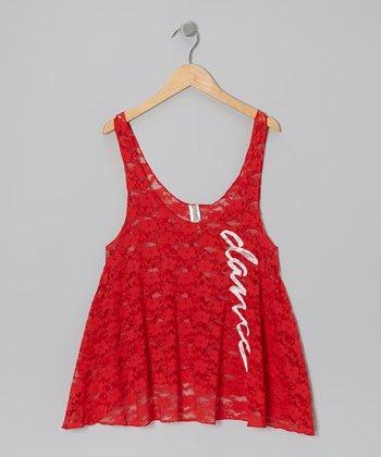 Red 'Dance' Lace Swing Tank - Women