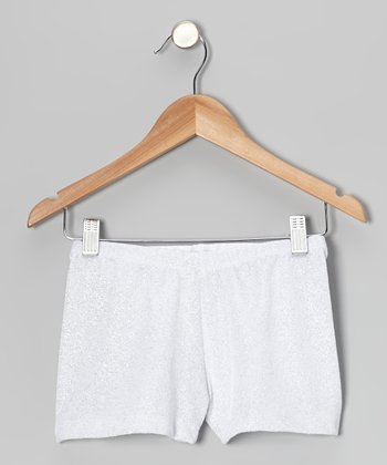 White Glitter Velvet Shorts - Toddler & Girls