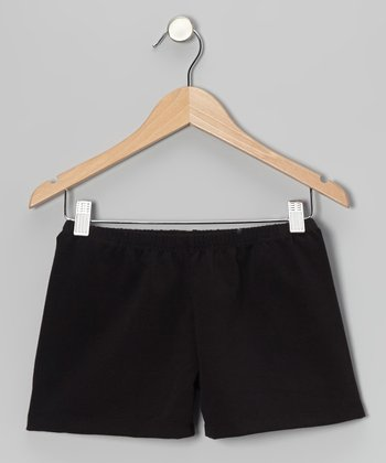 Black Solid Shorts - Girls
