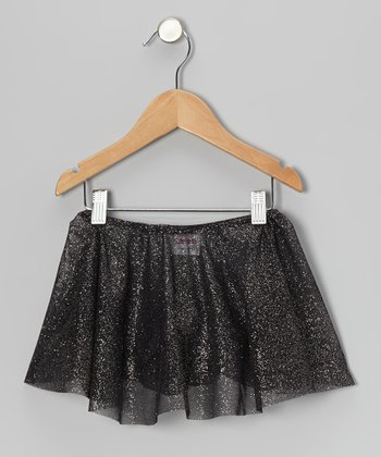 Black Glitter Sheer Skirt - Girls