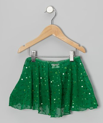 Emerald Sheer Sequin Skirt - Toddler & Girls