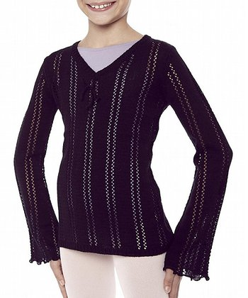 Black Pointelle Long Sleeve Top - Girls
