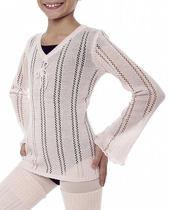 Theatrical Pink Pointelle Long Sleeve Top - Girls