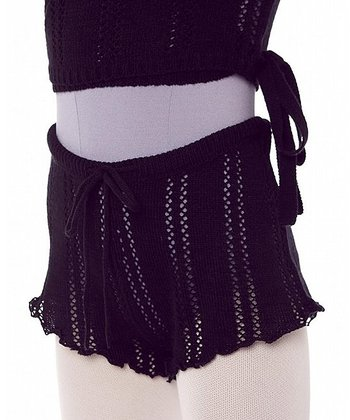 Black Pointelle Bodywarmer Shorts - Girls