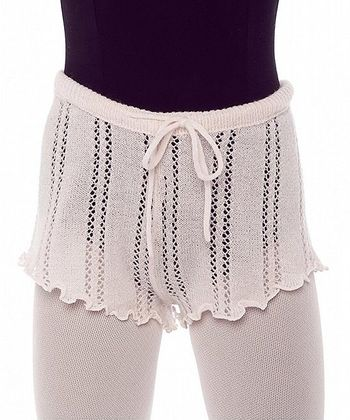 Theatrical Pink Pointelle Bodywarmer Shorts - Girls