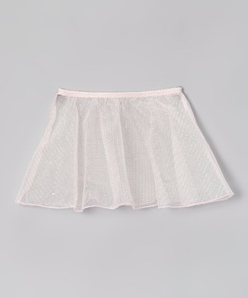 Pink Square Glitter Organza Skirt - Girls