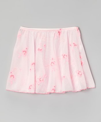 Pink Flower Print Skirt On Elastic - Toddler & Girls