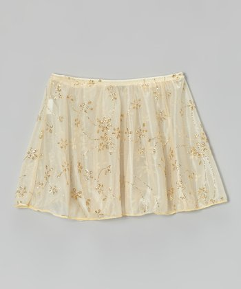 Ivory & Gold Glitter Skirt - Toddler & Girls