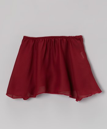 Burgundy Georgette Skirt On Elastic - Toddler & Girls