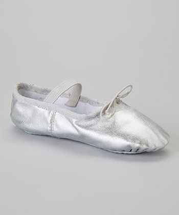 Silver Leather Ballet Slipper