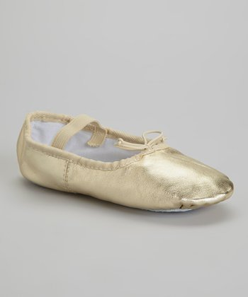 Gold Leather Ballet Slipper