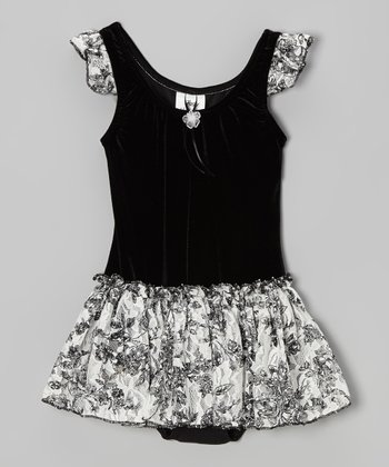 Black Toile Velvet Skirted Leotard - Girls