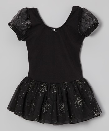 Black Mesh Skirted Leotard - Toddler & Girls