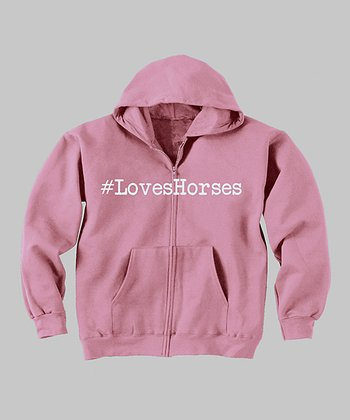 Light Pink '#LovesHorses' Zip-Up Hoodie - Toddler & Girls