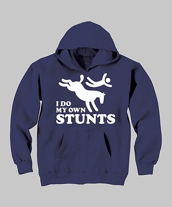 Navy 'I Do My Own Stunts' Hoodie - Toddler & Kids