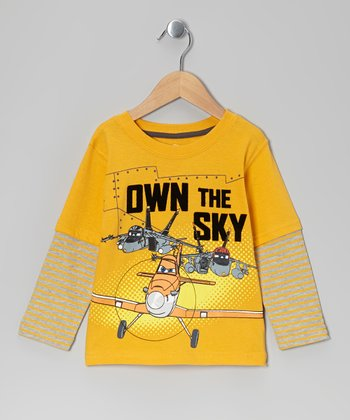 Yellow 'Own the Sky' Layered Tee - Toddler