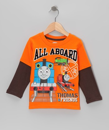 Orange 'All Aboard' Thomas Layered Tee - Toddler