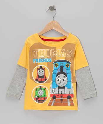 Yellow '01' Thomas Layered Tee - Toddler