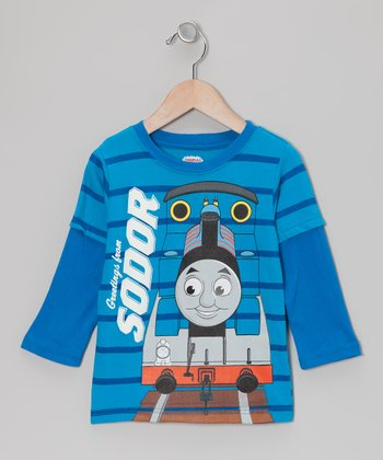 Blue Stripe 'Sodor' Layered Tee - Toddler
