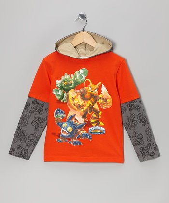 Red & Gray Skylander Hooded Tee - Kids