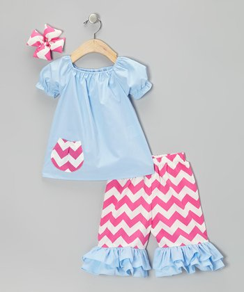 Blue & Pink Zigzag Capri Pants Set - Infant