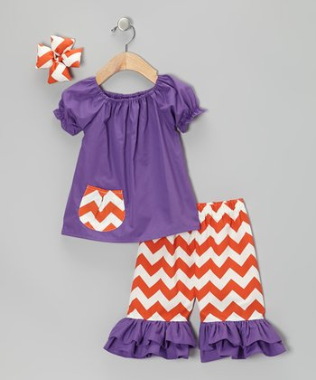 Purple & Orange Zigzag Capri Pants Set - Girls