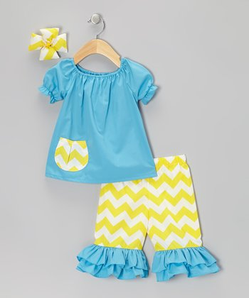 Turquoise Zigzag Capri Pants Set - Girls